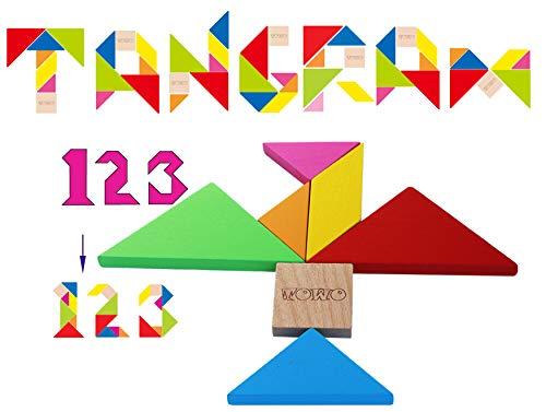 Toys of Wood Oxford TOWO Rompecabezas Tangram de Madera - Forma a los Bloques de patrón con 7 Grandes Formas geométricas de Colores - Juego de Habilidad Madera de Rompecabezas para niños y Adultos
