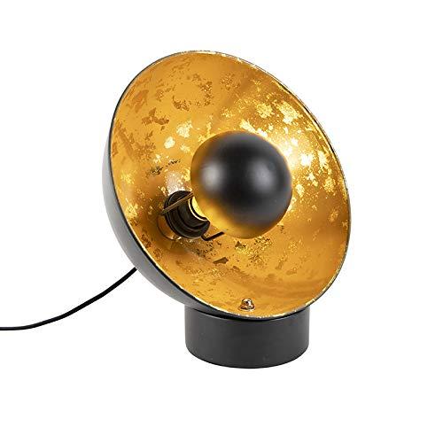 QAZQA - Industrie   Industrial Industrie   Industrial Tischlampe schwarz mit Gold   Messingenem Interieur - Magna Eglip   Wohnzimmer   Schlafzimmer - Stahl Rund - LED geeignet E27