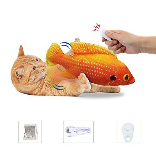 laamei Juguete eléctrico interactivo para gato, juguete eléctrico con forma de pez con hierba gatera, USB, peluche para gatos para jugar (pez de piedras preciosas (con mando a distancia)