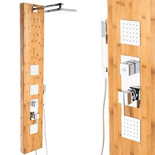 Bambus Premium Duschpaneel 150cm Multifunktion Regendusche Handbrause Duschsäule, mit Thermostat