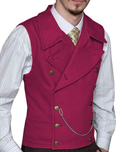 HSLS Chaleco de traje para hombre de gamuza con doble botonadura clásico padrinos de boda chaleco de boda de cuero con solapa grande