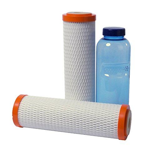 Superpure Trinkwasserfilter Doppelpack, extrem hohe Filtration von Rohrablagerungen, Schadstoffe und Schwermetalle, hoher Wasserdurchfluß | für carbonit-Wasserfilter geeignet | mit Wasserflasche