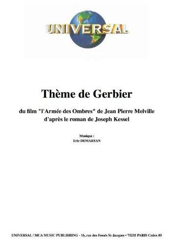 THÈME DE GERBIER L'ARMÉE DES OMBRES (partition)