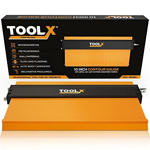 TOOLX 10-Inch Contour Gauge Profile Outline Tool with Metal Lock and Pins Tightness Adjustment Screws: Super Premium Quality Master Shape Duplicator for Measuring or Duplication of Irregular Template