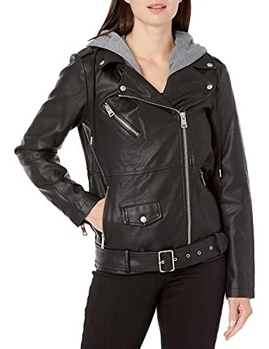 Levi's Women's Faux Leather Oversized Hooded Motorcycle Jacket, Black, Large