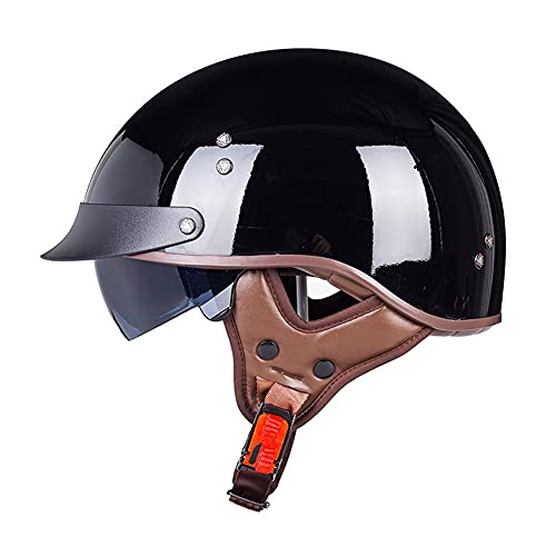 Retro Motocicleta Half Helmet Cruiser Casco con Visera ABS Casco Patinete Eléctrico Bicicleta Casco Anticolisión Casco Seguridad para Motocicleta (Blanco/Negro, 56~63CM)