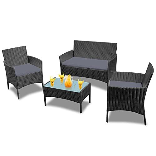 Froadp Conjuntos de Muebles de jardín de ratán Negro - con sofá de Dos plazas, sillones Individuales, Mesa y cojín de Asiento de Antracita - Salón de Muebles de jardín (Tipo A)