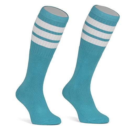 skatersocks 22 Inch kniehohe gestreifte Damen Socken Kniestrümpfe knee high overknee Herren Retro Tube Socks auqa - weiss gestreift - UNISEX - OSFA