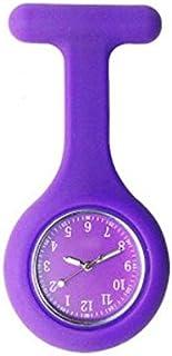 Party Girls S Silikon Krankenschwester Taschenuhr mit Clip/Pin, im Dunkeln Leuchten, Arzt medizinische Brosche Fob Watch (lila)