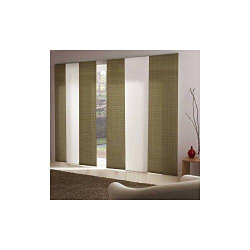 MADECOSTORE - Panel japonés Tamiante, Hojas de Cuerda y Rondino, Color Verde Almendra – 50 x 260 cm