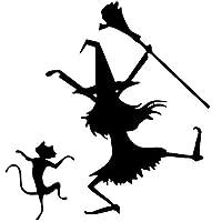 カーステッカー 車のステッカー3Dダンスの魔女と猫の装飾ステッカー面白いビニール車のスタイリングデカールオートバイステッカー14.2cmx15cm おもしろステッカー (Color Name : Black, Size : 1pcs)