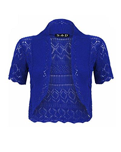 SD da donna lavorato a maglia bolero cardigan Blu Royal Blue