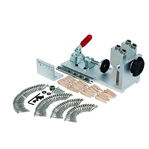 VINWOX Pocket Hole Jig System – Adjustable Woodworking Tools with Step Drill Bit and Robertson Screws & Bit, bezels for a Portable Unit or Mount to Bench (Aluminum)