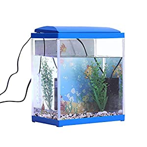 INMOZATA Aquarium 13 Litre Fish Tank Kit, Includes LED Lighting, Filter Pump and Aquarium Plant Stones Ornament (13L)