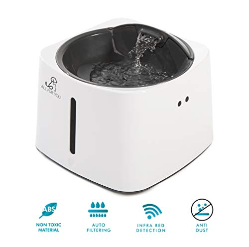 All Fur You Infrared Sensor Auto On/Off Automatic Pet Water Fountain 50oz/1.5L Cat Water Bowl Dog Water Dispenser Drinking Fountain Replaceable Triple Filter System for Cats Dogs Portable, Chargeable