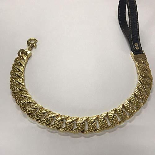 Collar de perro de acero inoxidable, cadena de perro grande, cadena de metal de acero para mascotas de 23 mm/32 mm Pitbull Bulldog Collar Charm-Gold Leash_40 cm