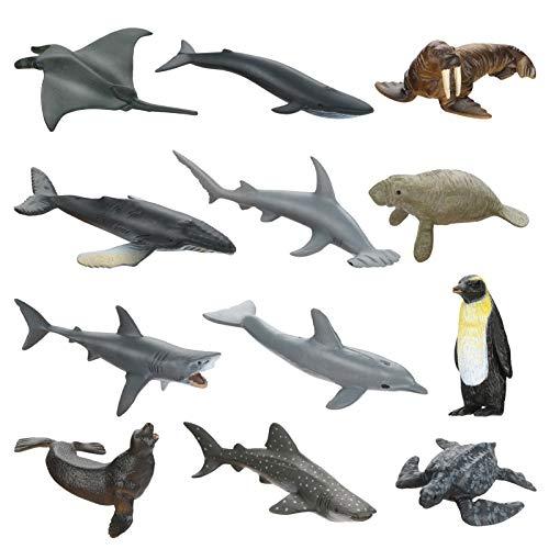 welltop Animali Marini Plastica per Bambini, 12 PCS Creatura del Mare Giocattolo Animale Figure Simulato Solido Mini Animale Modello Plastica Oceano Mare Figure di Animali Giocattolo Set