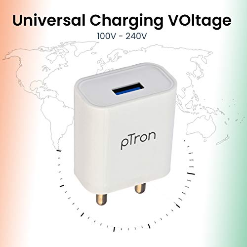 pTron Volta 12W Single USB Smart Charger, Made in India, BIS Certified, Fast Charging Power Adaptor Without Cable for All iOS & Android Devices - (White)