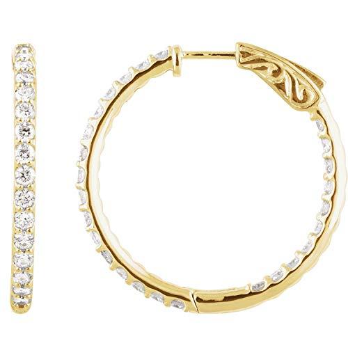 Pendientes de aro de oro amarillo de 14 quilates con diamante de 2 CTW, 29,5 mm, joyería fina para mujer