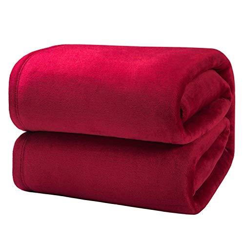 NATURELIFE - Manta para Sofa de Franela 230x270 cm - Manta para Cama 180 Aprox Reversible de 100% Microfibra Extra Suave - Manta Rojo Transpirable