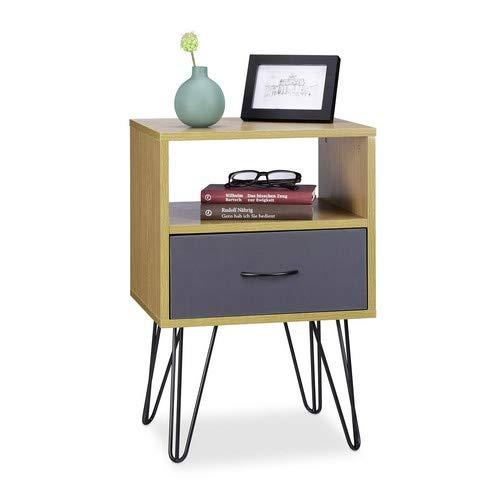 Relaxdays Retro nachtkastje, met lade, houtlook, metalen poten, vintage, nachtkastje, HxBxD: 60 x 40 x 35 cm, bruin