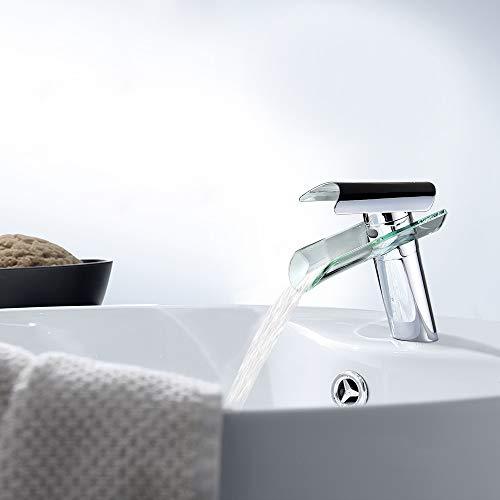 SAILUN Wasserfall Armatur Wasserhahn Glas Spüle Waschbeckenarmatur für Bad Waschtischarmatur Badarmatur Badezimmer Küchen (B Type) - 8