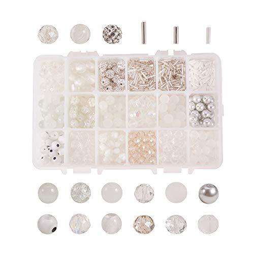 NBEADS 290 Pcs Glass Beads Pearl Beads Disco Ball Beads for Jewellery Making