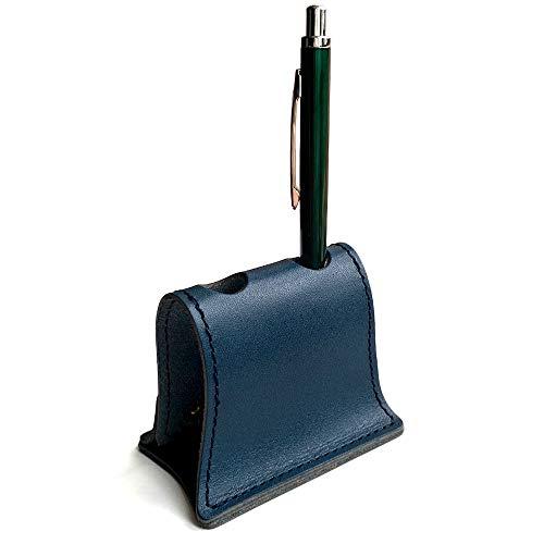 PAIDiA ペン立て 本革 革 レザー かっこいい ペンスタンド 2本用 テレワーク 在宅 勤務 グッズ 組み立て おしゃれ 栃木レザー P082NV (ネイビー)