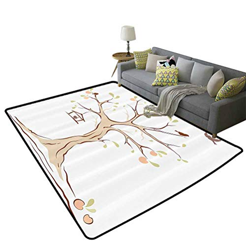 Tree of Life Decor Runner Area Rugs Illustration of Mature Apple Tree with Fying Birds and The Nest Fruit Family Decorative Gifts for Women Multi, 6'x 8'(180x240cm)
