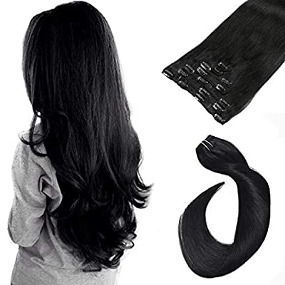 Clip in Hair Extensions Remy Human Hair Clip in Extensions Balayage Clip in Hair 7 Pieces 70g Silky Straight Double Weft Clip in Remy Real Extensions Hair for Women Ladies