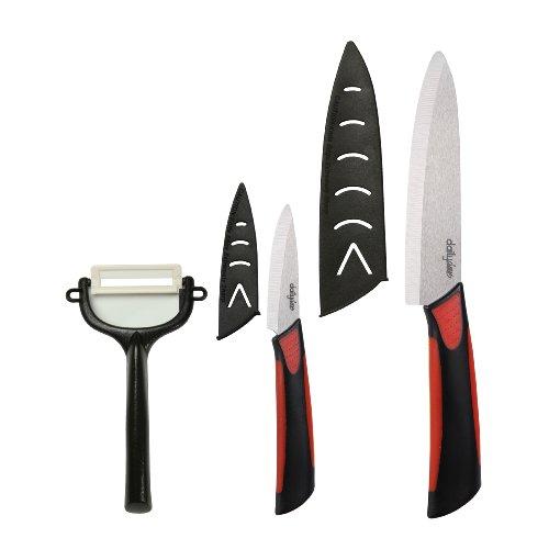 Dailycious DC-0047 - Confezione di 3 coltelli in Ceramica, 1 Coltello da Chef 15 cm + 1 Coltello sbucciatore 7,5 cm + 1 Pela Verdura