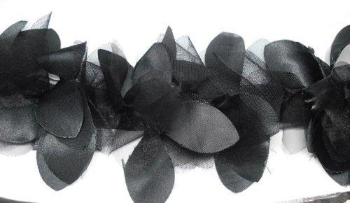 The Yard Neotrims Ruban de pétales moelleux en satin et tissu filet Largeur 10,5 cm