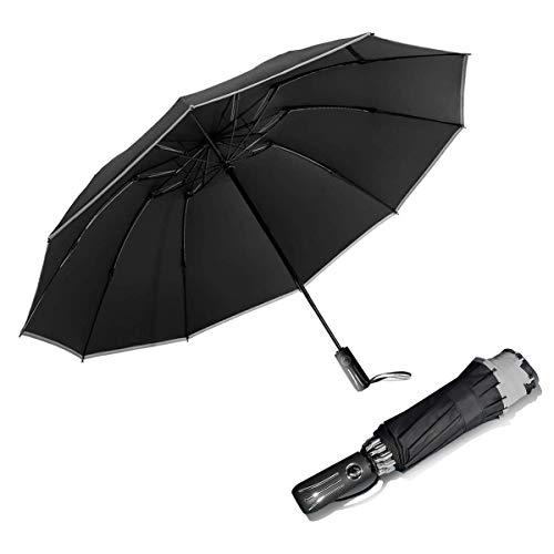 Omgekeerde Winddichte Reisparaplu Yoophane Compacte Omgekeerde Paraplu met Reflecterende Streep 10 Ribben Auto Open/Close Vouwparaplu voor Mannen Vrouwen.