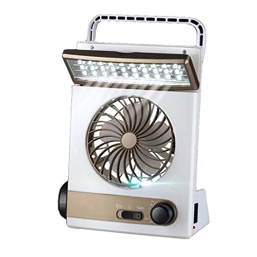 Gmjay Ventilador de Refrigeración Solar Portátil 3 en 1 Multifunción con Linterna de Lámpara de Ventilador de Tienda de Campaña Ligera para Acampar en Casa,White