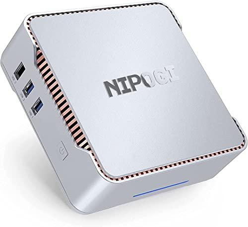 Mini PC Windows 10 Pro, NiPoGi 12GB DDR4/ 128GB ROM Celeron J4125 Mini Desktop Computer, Triple Displays, Dual WiFi, Gigabit Ethernet, 4K UHD Kleiner PC für Büro, Business, Firmen, Schüler, HTPC
