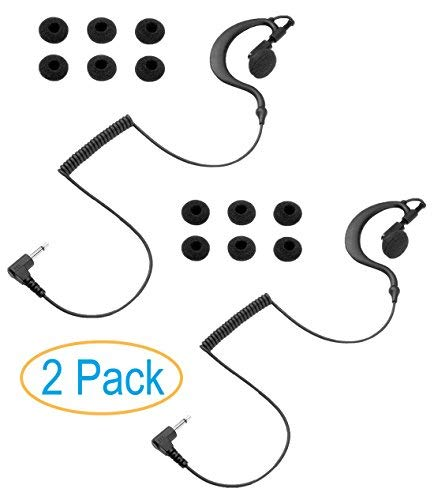 2 Pack 3.5mm Listen Only Earpiece Earhook, Skin-Friendly Rubber Ear Hook, Earbud Swivels for Right or Left Ear, Fit for Shoulder Mic of CP CLS APX XTS XPR Motorola Baofeng Kenwood Vertex Radios