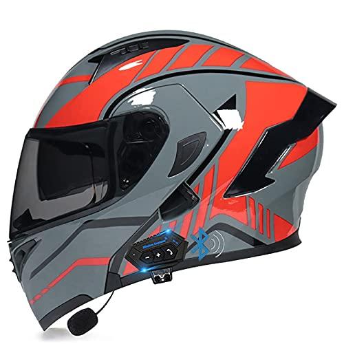Casco de Motocicleta Bluetooth Modular, abatible hacia Arriba, Casco de Motocicleta Frontal, Casco de Moto de Cara Completa, Ligero con Doble Visera, Cascos de Moto aprobados por Dot/ECE p