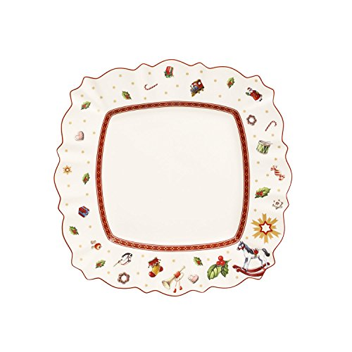 Villeroy & Boch Toy's Delight Piatto Piano, Quadrato, Porcellana, Bianco/Rosso, 28.5x28.5x0.1 cm