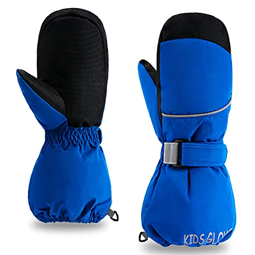 ThxToms Kids Mittens, Waterproof Ski Snow Gloves for Boys & Girls, Toddler Winter Warm Gloves, Long Cuff for Cold Weather Outdoor Activities Blue XS