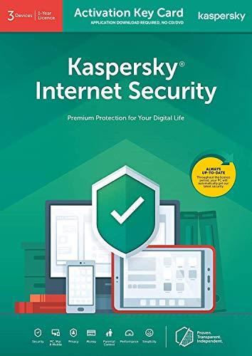 Kaspersky Internet Security 2020 (2021 Ready) | 3 Devices | 1 Year | PC/Mac/Android | Activation Key Card by Post with Antivirus Software, 360 Deluxe Firewall, Web Monitoring, Total Security VPN