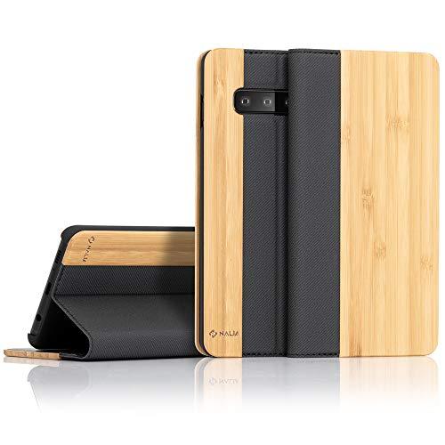 NALIA Echt-Holz Klapphülle kompatibel mit Samsung Galaxy S10, Handmade Phone Hülle Handyhülle Natur-Holz Hülle Handy-Tasche Etui Flipcase, Dünnes Kunst-Leder Wood Book Cover Bumper, Farbe:Bambus