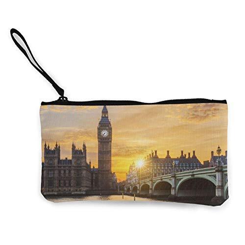 Lawenp Big Ben y el Puente de Westminster al Atardecer en Londres Inglaterra Portátil para Mujer Monedero de Lona Bolsas de Almacenamiento Cartera pequeña Cremalleras Cosméticos de Viaje