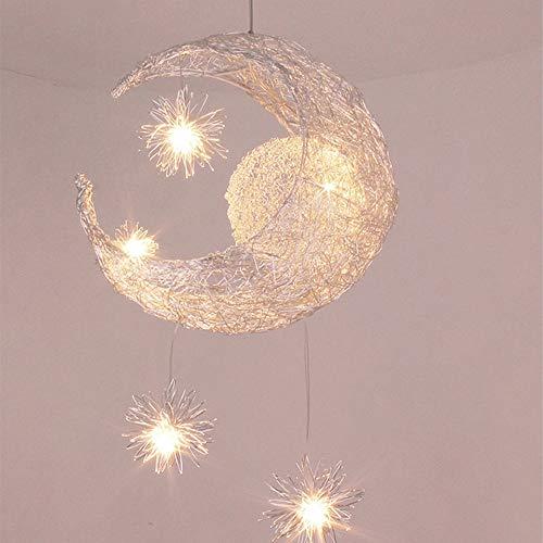 Lampadario a Forma di Luna Lampada a Sospensione Moderna a Sospensione a LED per Bambini Camera da Letto, Luce Bianca Calda