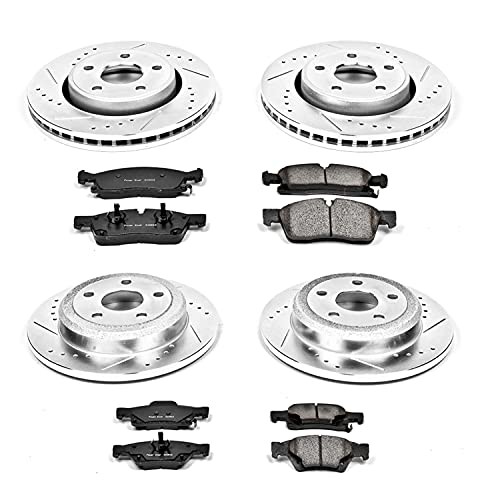 Power Stop K5952 Front and Rear Z23 Carbon Fiber Brake Pads with Drilled & Slotted Brake Rotors Kit