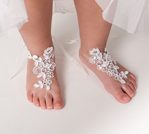 Baby Lace Sequins Barefoot Sandals, Flower girl accessory, Beach wedding Anklet, First birthday shoes, Kids barefoot sandals