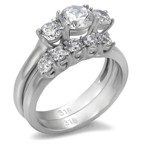 Doublebeez Jewelry Stainless Steel Cubic Zirconia Engagement and Wedding...