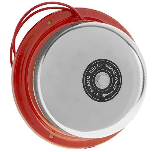 BeMatik - Timbre eléctrico de Campana cromada 100mm para Alarma 85 dB
