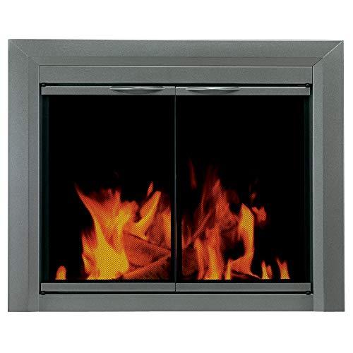 Pleasant Hearth CR-3402 Craton Fireplace Glass Door, Gunmetal, Large