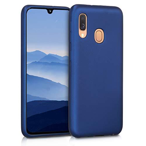 kwmobile Cover Compatibile con Samsung Galaxy A40 - Protezione Back Case Silicone TPU Effetto Metallizzato - Custodia Morbida Blu Metallizzato