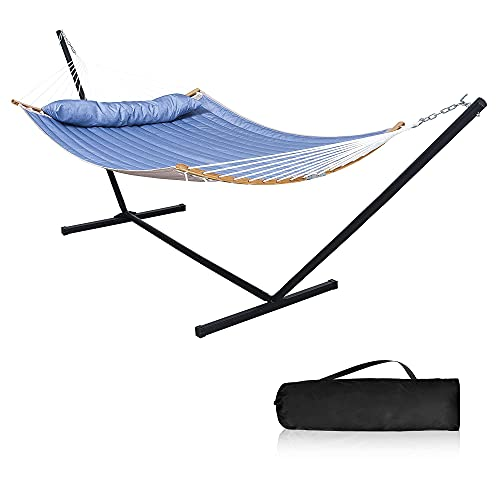 Mansion Home 2 Person Hammock with Stand,12 Ft, Heavy Duty 450 lbs, Outdoor Hammock with Curved Spreader Bar, Hammocks for Outside with Stand Pillow & Portable Bag, Blue